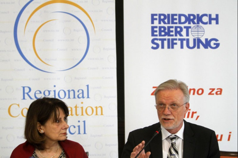 Jelica Minic (left), Deputy RCC Secretary General, and Roland Feicht, Director of FES Project for Labor Relations and Social Dialogue in South East Europe, are to open a two-day regional conference 'New Skills for New Jobs' in Western Balkans, in Sarajevo on 12 July 2012. (Photo RCC/Dado Ruvic)