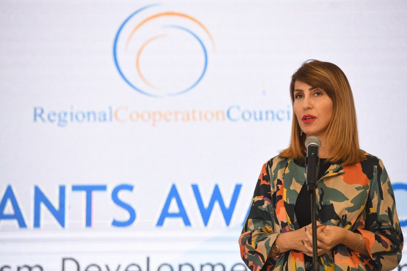 Secretary General of the Regional Cooperation Council Majlinda Bregu at the tourism grants award ceremony within the Tourism Development and Promotion Project, in Durres on 22 November 2019 (Photo: RCC/Armand Habazaj)