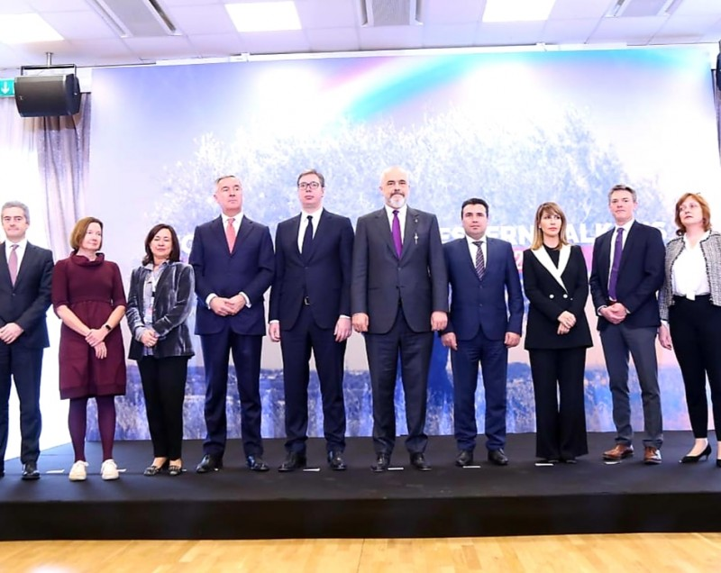 RCC Secretary General, Majlinda Bregu (third from the right) at the meeting of Western Balkan Leaders in Tirana, 21 December 2019 (Photo: Courtesy of the Cabinet of Albanian Prime Minister)