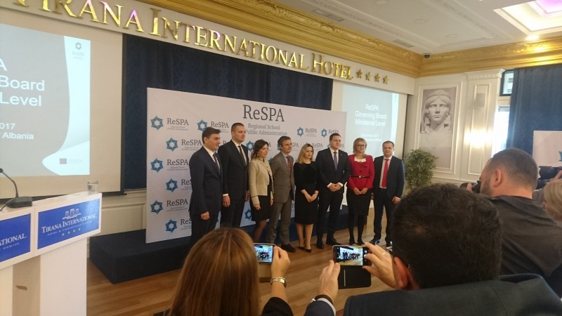 Ministers in charge of public administration reform from Western Balkan economies endorsed the 'Western Balkans Recommendations on Public Participation', at the 8th Governing Board Meeting at Ministerial level, organised by Regional School of Public Administration (ReSPA), on 6 November 2017 in Tirana. (Photo: RCC/Radu Cotici)