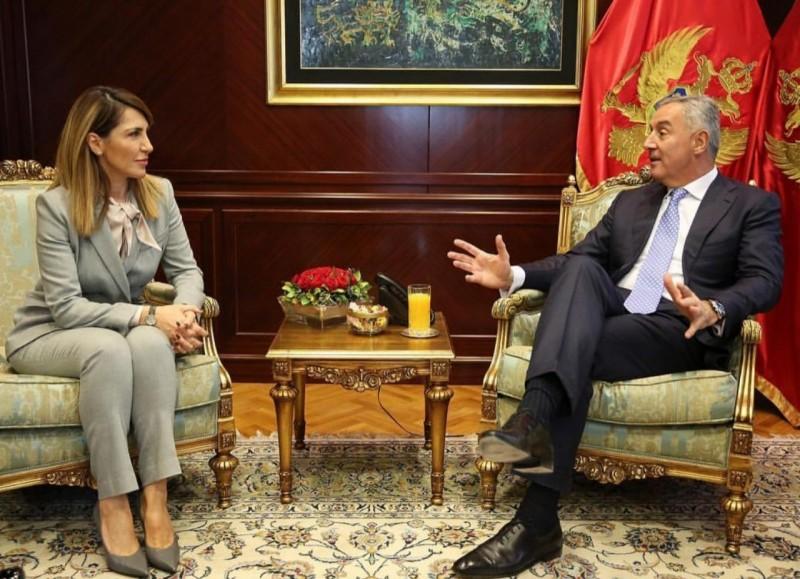 Majlinda Bregu, Secretary General of the Regional Cooperation Council (RCC) met with Milo Đukanović, President of Montenegro, in Podgorica on 21 February 2019 (Photo: Courtesy of the Presidency of Montenegro)