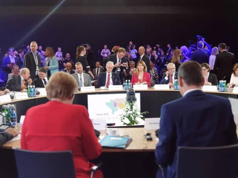 RCC Secretary General, Majlinda Bregu addressing the Western Balkans Leaders' Summit in Poznan, Poland, 5 July 2019 (Photo: RCC/Erik Witsoe)