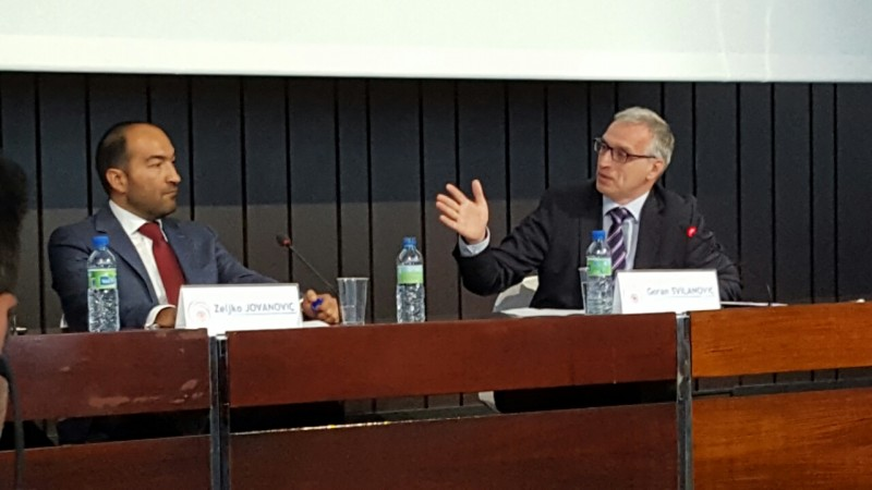 Goran Svilanovic, RCC Secretary General (right) and Zeljko Jovanovic, Director, Roma Initiatives Office, Open Society Foundations (left) at the Roma Integration 2020 Launch Event on 9 June 2016 in Brussels (Photo: RCC/Gordana Demser)