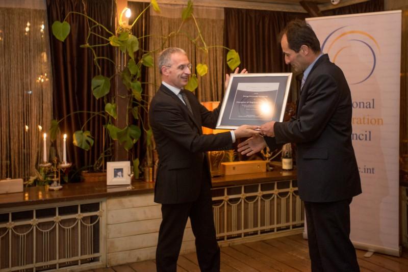 Director of the Energy Community Secretariat (ECS), Janez Kopac (right), on behalf of the ECS, receives RCC's Champion of Regional Cooperation award for 2014 from RCC Secretary General, Goran Svilanović, in Sarajevo, BiH on 25 February 2015 . (Photo: RCC/Amer Kapetanovic)