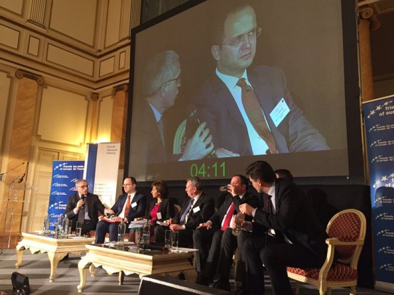 """RCC Secretary General, Goran Svilanovic(first left), at the Friends of Europe's conference 'Balkan Partnership, strengthening the Region's ties"""", in Brussels on 16 February 2016. (Photo: @pvengu)"""