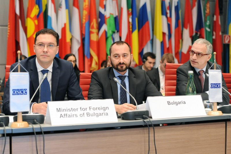 RCC Secretary General Goran Svilanovic (first on the right) and SEECP Chair in Office, represented by the Bulgarian Foreign Minister, Daniel Mitov at the meeting of the OSCE Permanent Council in Vienna (Photo: OSCE/Micky Kröll)