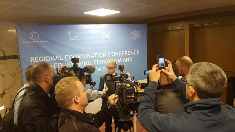 RCC Secretary General Goran Svilanovic answering journalists' questions at the Regional Coordination Conference on Countering Terrorism and Violent Extremism in South East Europe, held in Tirana, 11 November 2016 (Photo: RCC/Selma Ahatovic-Lihic)