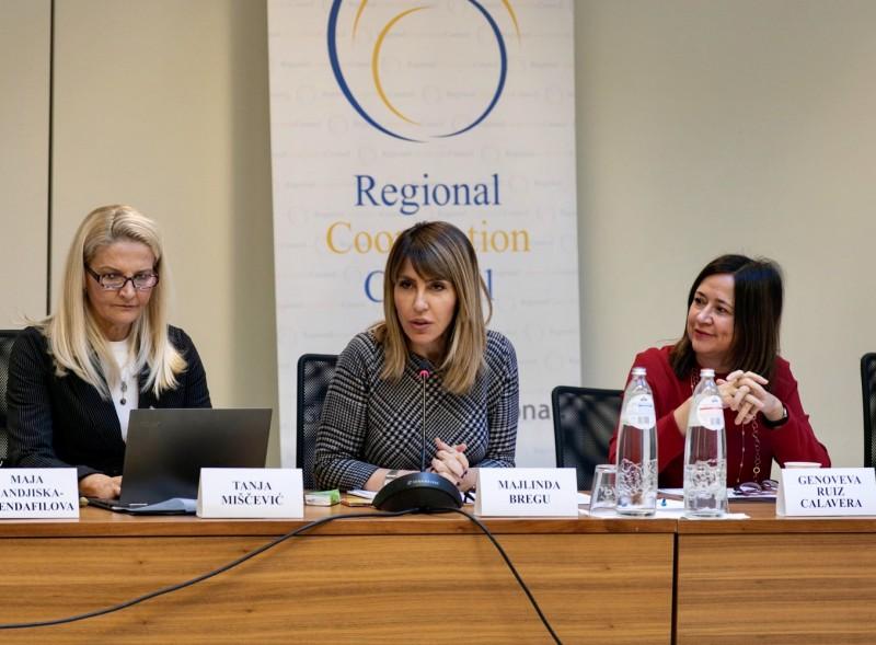 Majlinda Bregu, RCC Secretary General addressed the meeting of Coordinators in charge of MAP REA implementation in Brussels, 2 December 2019 (Photo: RCC/Laure Geerts)