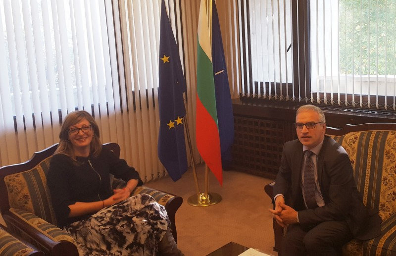 Goran Svilanovic,  RCC Secretary General of the Regional (right) , meets Ekaterina Zaharieva, Bulgarian Deputy Prime Minister for Judicial Reform and Minister of Foreign Affairs, on 26 October 2017, in Sofia. (Photo: Vesselin Valkanov)