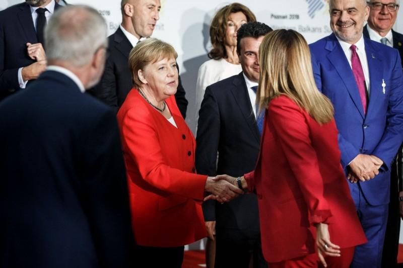 RCC Secretary General, Majlinda Bregu with German Chancellor, Angela Merkel at the Western Balkans Leaders' Summit in Poznan, Poland, 5 July 2019 (Photo: Courtesy of German Government)