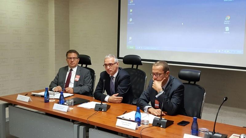 RCC Secretary General, Goran Svilanović (centre), Director of the NSA of Montenegro, Savo Vučinić (right), and Senior RCC Advisor on Security Policy Issues, Marinko Raos, at the 6th SEENSA Forum, in Podgorica on 29 September 2016. (Photo: RCC/Natasa Mitrovic)