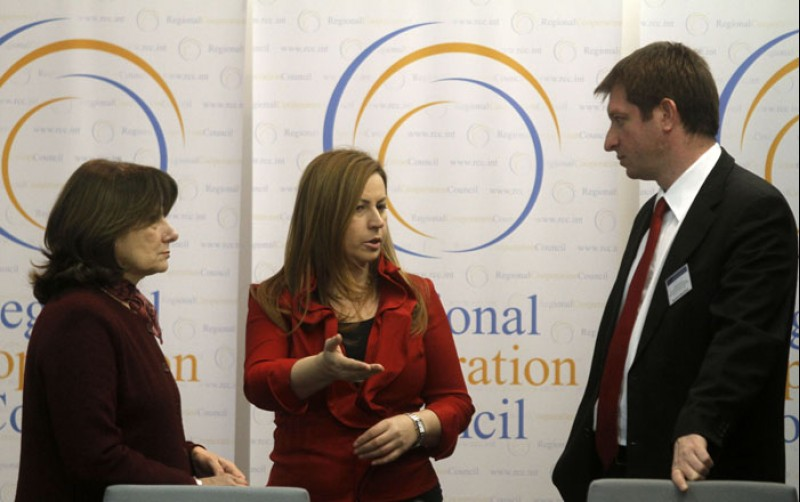 RCC hosted a two-day parliamentary seminar, organized jointly with the European Parliament, on 23-24 February 2011 in Sarajevo, BiH. At the photo: Jelica Minic (left), Deputy RCC Secretary General, Anna Ibrisagic (centre), Member of the EP's Committee on Foreign Affairs, and Mladen Dragasevic, Head of RCC Building Human Capital and Parliamentary Cooperation Unit. (Photo: RCC/ Dado Ruvic)