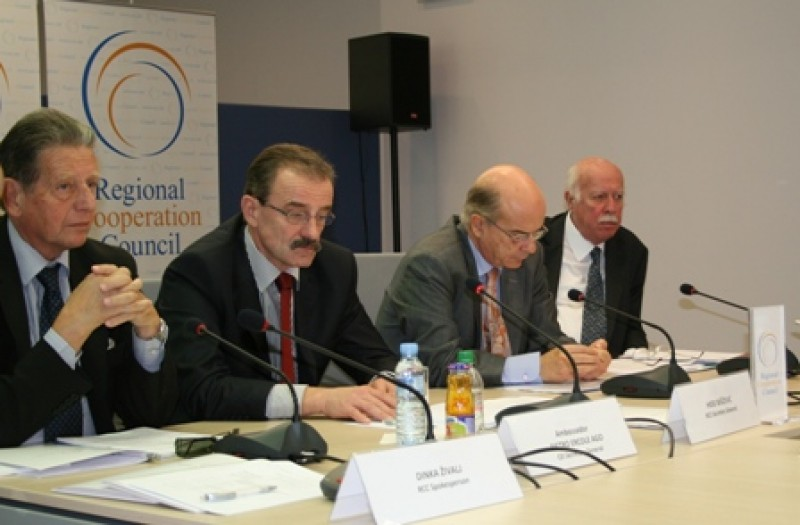Secretary Generals of Central European Initiative, Regional Cooperation Council, Organization of the Black Sea Economic Cooperation and Adriatic-Ionian Initiative (left to right), at a coordination meeting in Sarajevo, 13 October 2008. (Photo RCC/Selma Ahatovic-Lihic)