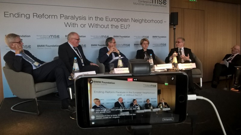 """RCC Secretary General, Goran Svilanovic (first right), at the panel """"Ending Reform Paralysis in the European Neighbourhood – with or without the EU"""" organised by the BMW Foundation onset of the 53rd Munich Security Conference, on 17 February 2017. (Photo: BMW Foundation)"""