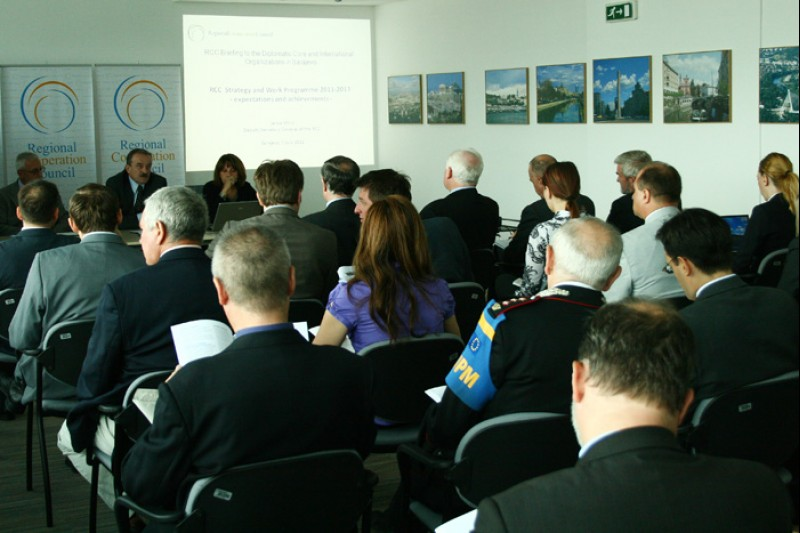 Representatives of diplomatic community in Sarajevo at RCC Secretariat's briefing on implementation of its work strategy and results of third RCC Annual Meeting, 5 July 2011, Sarajevo, BiH. (Photo RCC/Selma Ahatovic-Lihic)
