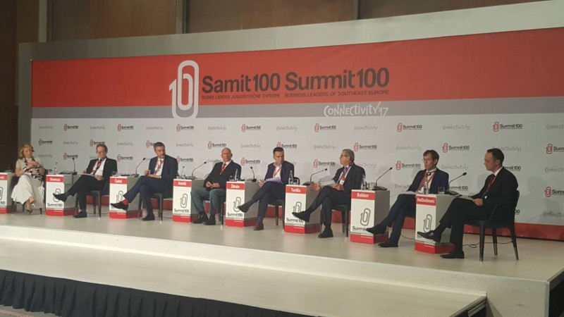Gazmend Turdiu, Deputy Secretary General of the Regional Cooperation Council, speaking at 6th Summit100 of Business Leaders of Southeast Europe in Skopje, 16 October 2017 (Photo: RCC/Zoran Popov)