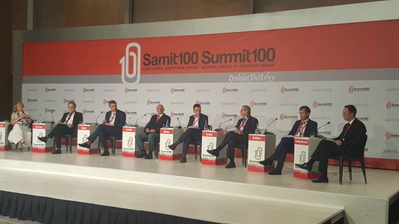 Gazmend Turdiu, Deputy Secretary General of the Regional Cooperation Council, speaking at 6th Summit100 of Business Leaders of Southeast Europe in Skopje, 16 October 2017 (Photo: RCC/Zoran Popov)