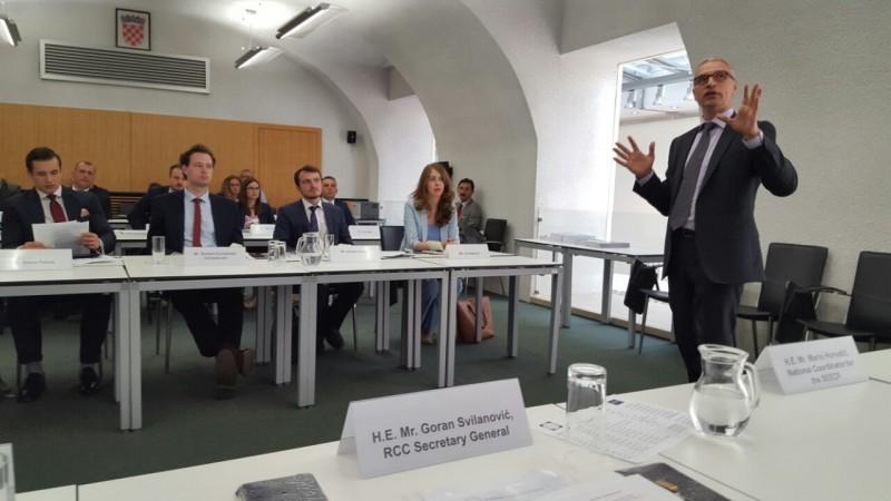 RCC Secretary General, Goran Svilanovic having presentation at 1st SEECP Seminar for Junior Diplomats in Zagreb, 12 June 2107. (Photo: RCC/Natasa Mitrovic)