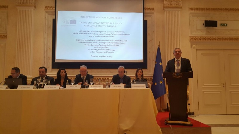 Deputy RCC Secretary General, Gazmend Turdiu, takes part at the inter-parliamentary conference on trans-European networks and connectivity agenda, on 3 March 2017 in Pristina. (Photo: RCC/Natasa Mitrovic)