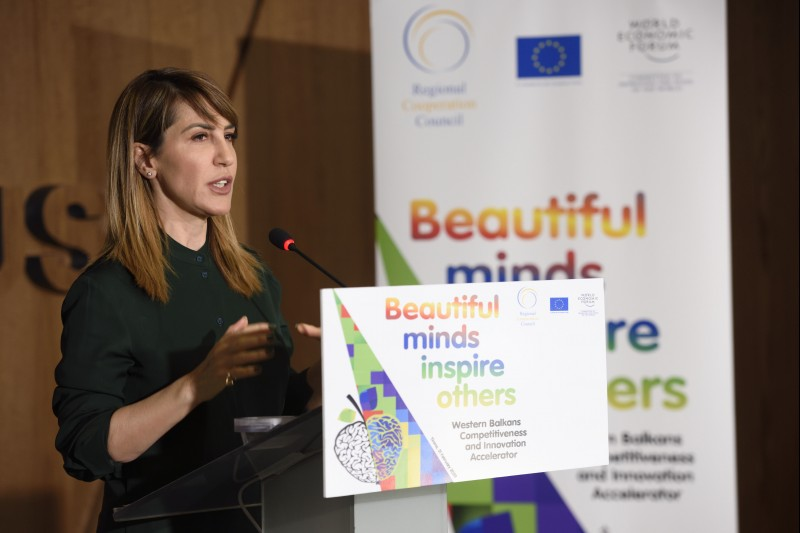 RCC Secretary General Majlinda Bregu at the kick-off meeting of the Western Balkans Innovation and Competitiveness Accelerator, on 21 February in Tirana. (Photo: RCC/Armand Habazaj)
