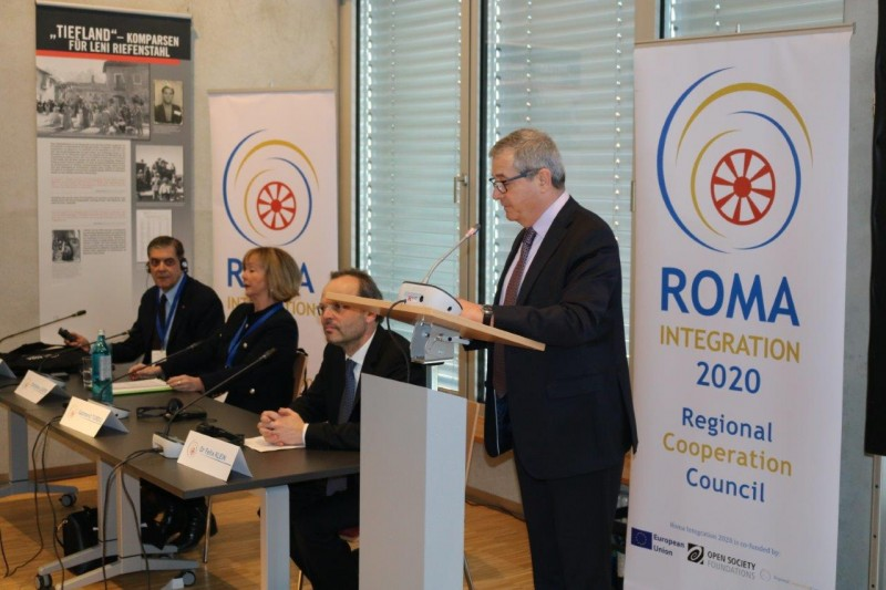 RCC Deputy Secretary General Gazmend Turdiu (first right) opens a two-day workshop addressing discrimination and anti-Gypsyism in the enlargement region, organized under the auspices of theRCC's Roma Integration 2020 project, on 13 February 2018, in Berlin, Germany. (Photo: RCC/Ave Media)