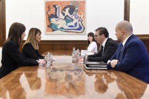 Secretary General of the Regional Cooperation Council (RCC), Majlinda Bregu met with the President of Serbia, Aleksandar Vučić in Belgrade on 4 February 2019 (Photo:  Courtesy of the Office of the President of Republic of Serbia)