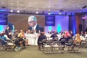 RCC Secretary General presenting organisation's work at meeting of SEECP Foreign Affairs Ministers and Summit of Heads of State and Government in Dubrovnik, 30 June 2017 (Photo: RCC/Ratka Babic)