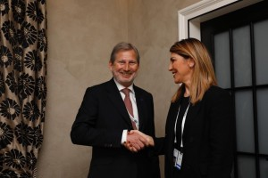 RCC Secretary General, Majlinda Bregu, with EU Commissioner for European Neighbourhood and Enlargement Negotiations, Johannes Hahn, at the 2019 Munich Security Conference, on 16 February 2019 in Munich (Photo: @JhahnEU)