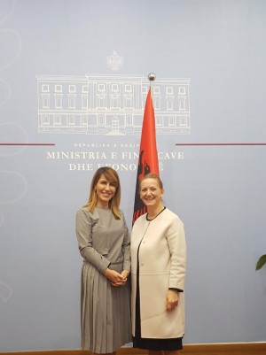 RCC Secretary General Majlinda Bregu meets the Minister of Finance and Economy of Albania, Anila Denaj, on 1 February 2019 in Tirana. (Photo: Courtesy of the Ministry of Finance and Economy)