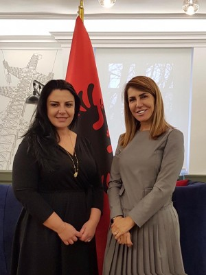 RCC Secretary General Majlinda Bregu meets the Minister of Infrastructure and Energy of Albania, Belinda Balluku, on 1 February 2019 in Tirana. (Photo: Courtesy of the Ministry of Infrastructure and Energy)