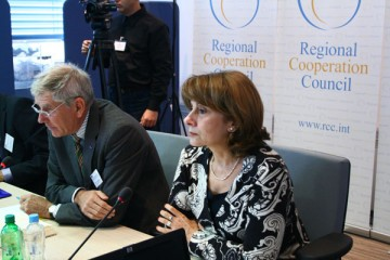 Deputy RCC Secretary General, Jelica Minic (right), and Knut Dreyer, Senior Police Adviser to the OSCE Secretary General, open the workshop on democratic policing in South East Europe, Sarajevo, BiH, 30 September 2010. (Photo RCC /Selma Ahatovic-Lihic)