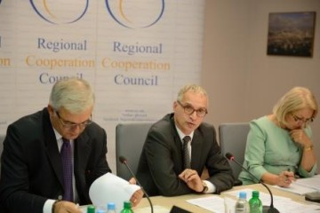 Secretary General Goran Svilanovic presents organisation's activities in the period April – September at the third RCC Board Meeting in 2014 (Photo: RCC)