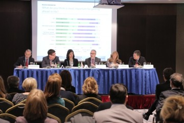 Panelists at the meeting devoted to stocktaking and evaluation of the RCC's SEE 2020 development Strategy implementation, Belgrade, 23 March 2015 (Photo RCC/Miros)